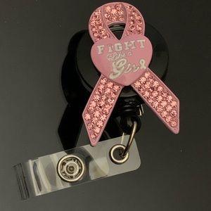 "Cancer Awareness ""fight like a girl"" badge holder"